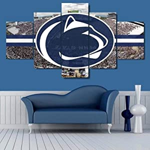 Large Framed Penn State Nittany Lions Stadium Canvas Print Wall Art Home 5 Piece-150x80 cm