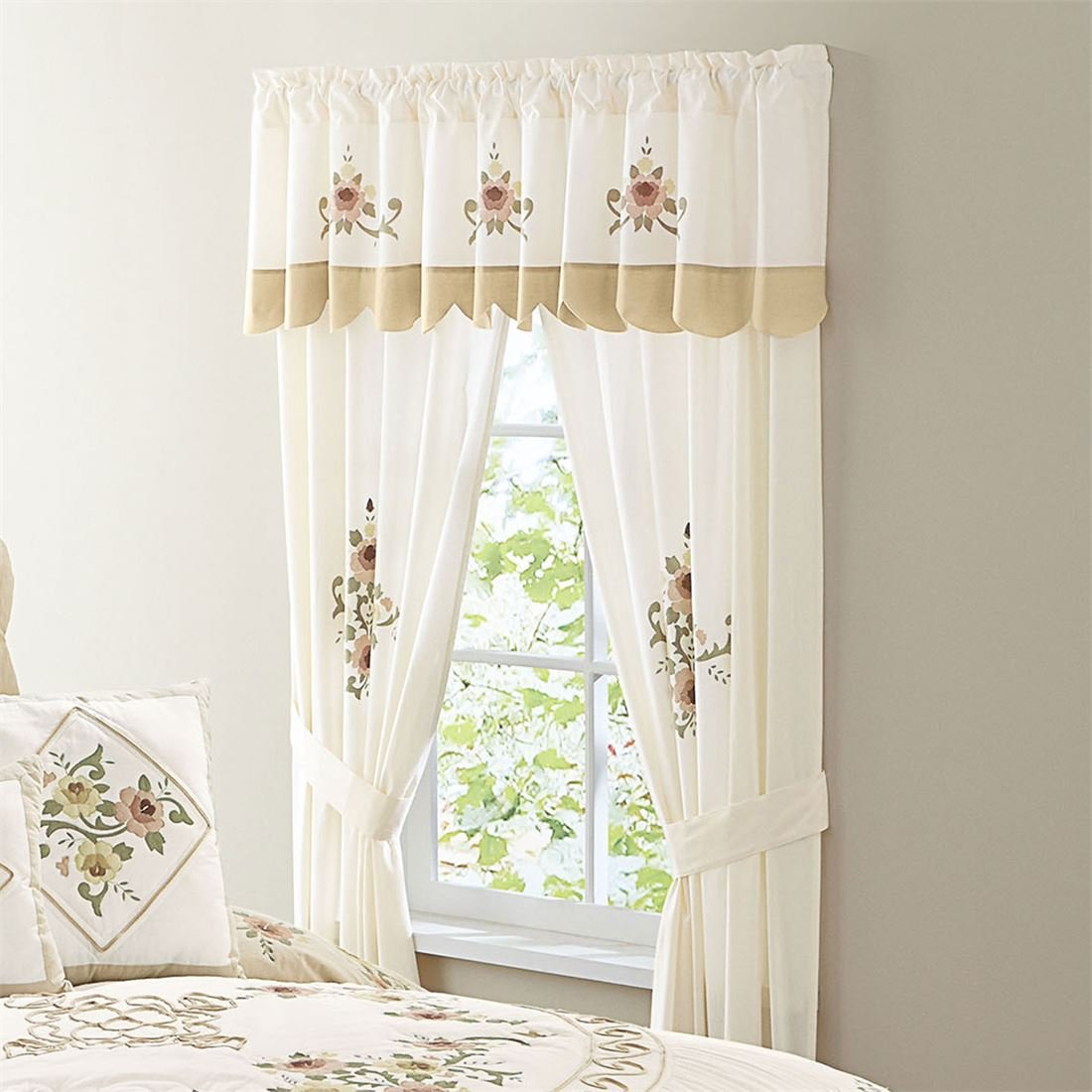 BrylaneHome Ava Embroidered Panel Set with Tiebacks (Taupe,0)