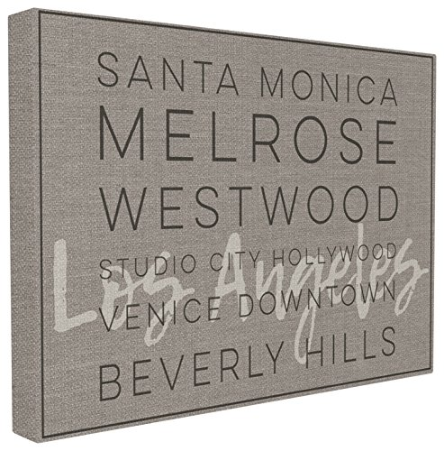 The Stupell Home Décor Collection LA Santa Monica Beverly Hills Typography Stretched Canvas Wall Art 16 x 20
