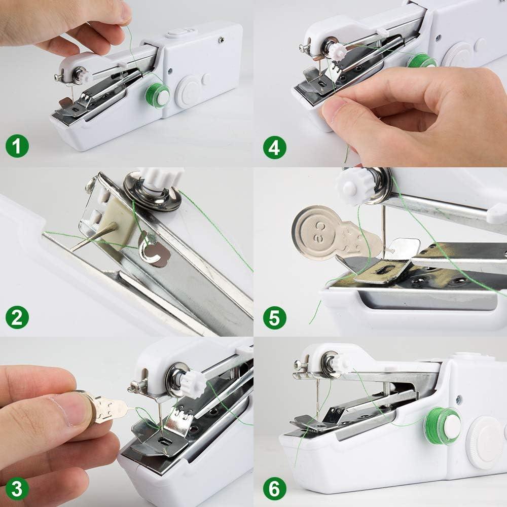 Mini Máquina de Coser Manual Portátil, Mini Herramienta de Costura Rápida Inalámbrica de Mano Eléctrica DIY con ...