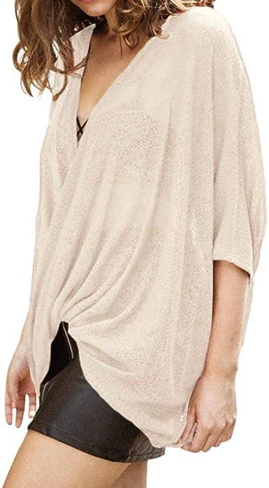 Blusas Blusa Elegante para Mujer Suelta La Camiseta Asimétrica De Gran Ropa Tamaño Blusa Blusa para Mujer De Corte Holgado Blusa Color Sólido Camisa para Mujer Suave Y Cómoda: Amazon.es: Ropa y