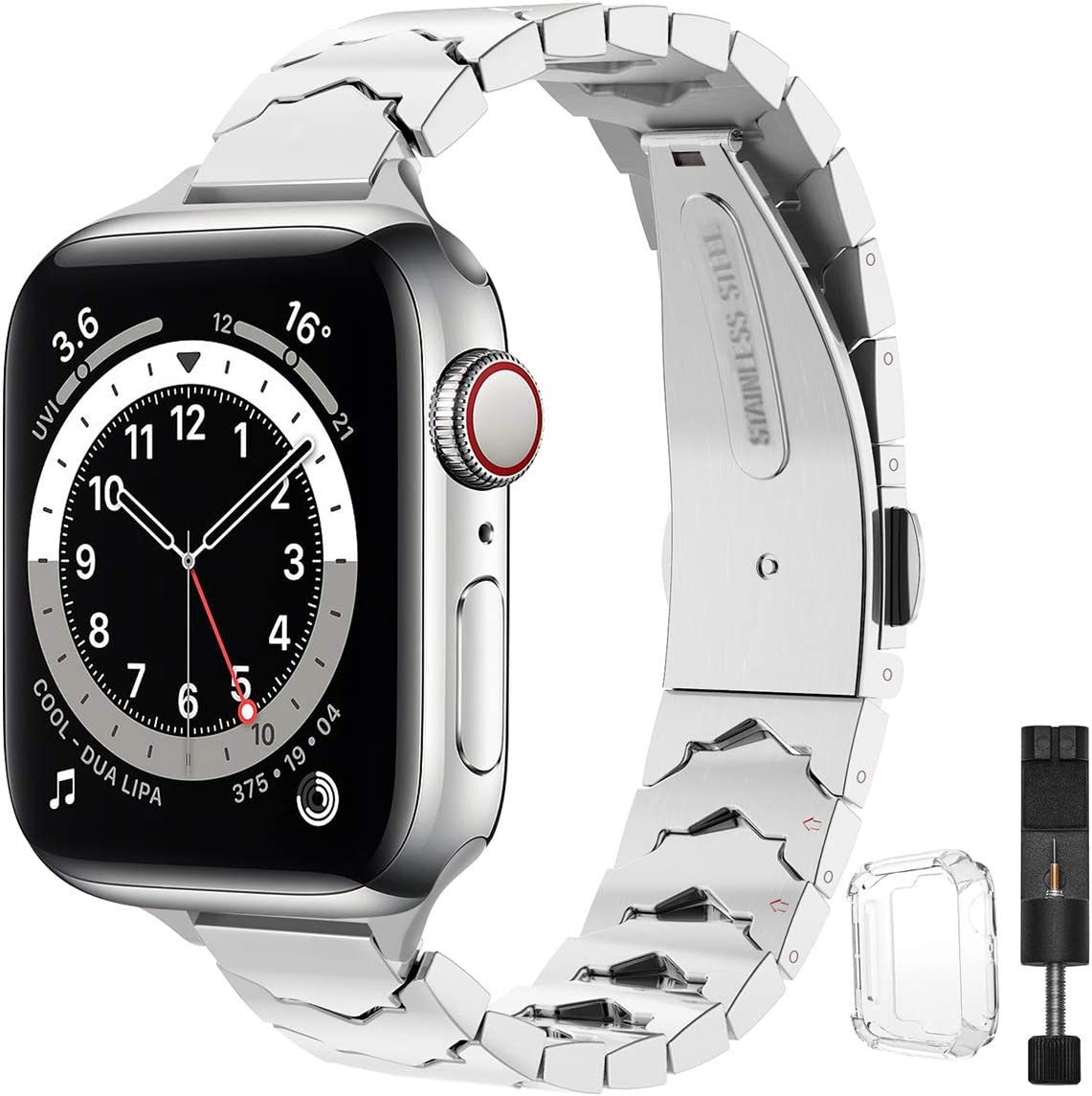 STIROLL Slim Stainless Steel Replacement Band Compatible for Apple Watch 38mm 40mm 42mm 44mm, Crown Shape Wristband Women for iWatch SE Series 6/5/4/3/2/1 (Silver, 38mm 40mm)