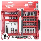 Milwaukee 48-32-4023 Shockwave Impact Duty 45 Piece Heavy Duty Driver Bit Set w/Hex, Phillips, Square, and Slotted Bits