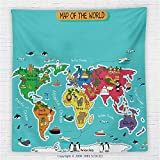 59 x 59 Inches Colorful Educational Kids Maps Decor Fleece Throw Blanket North South America Africa Asia Australia Pacific Indian Atlantic Ocean Blanket
