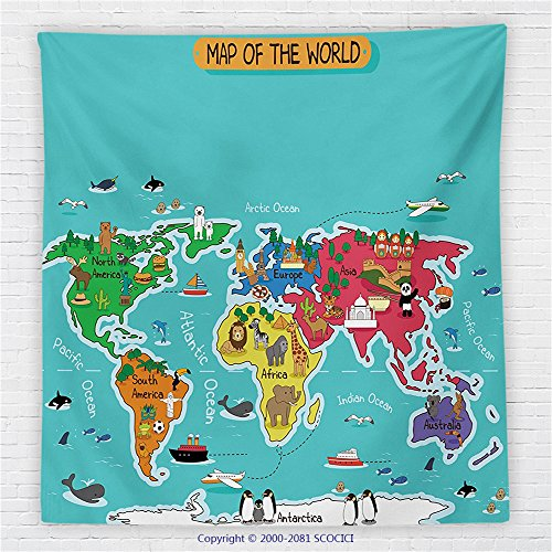 59 x 59 Inches Colorful Educational Kids Maps Decor Fleece Throw Blanket North South America Africa Asia Australia Pacific Indian Atlantic Ocean Blanket by iPrint