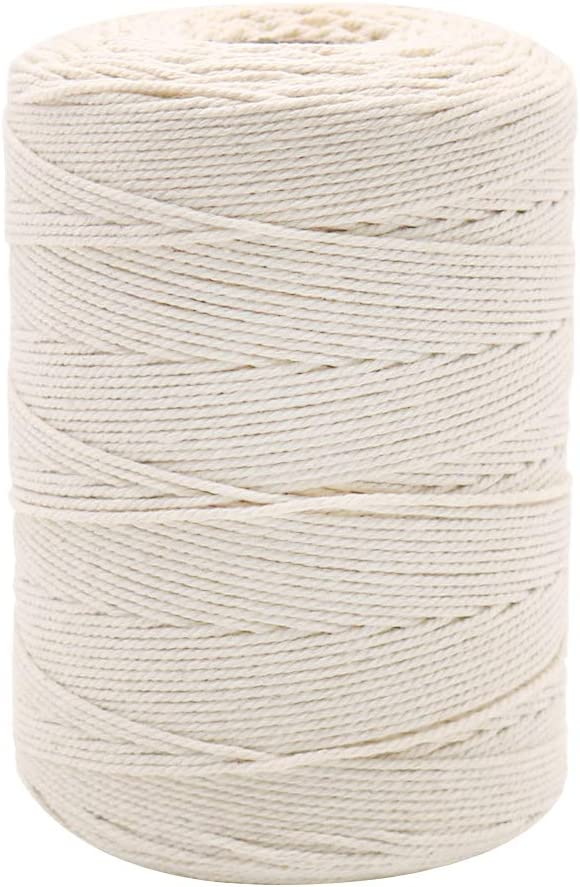 984 Feet Cotton Bakers Twine, Food Safe Cooking String for Tying Meat, Making Sausage, Baking, Candle Wicks, Christmas Wrapping Gifts (Beige)