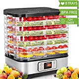 Hauture Food Dehydrator Machine, Digital Timer and Temperature Control, 8 Trays - For Beef Jerky Preserving Wild Food and Fruit Vegetable Dryer in Home Kitchen, BPA Free/400 Watt