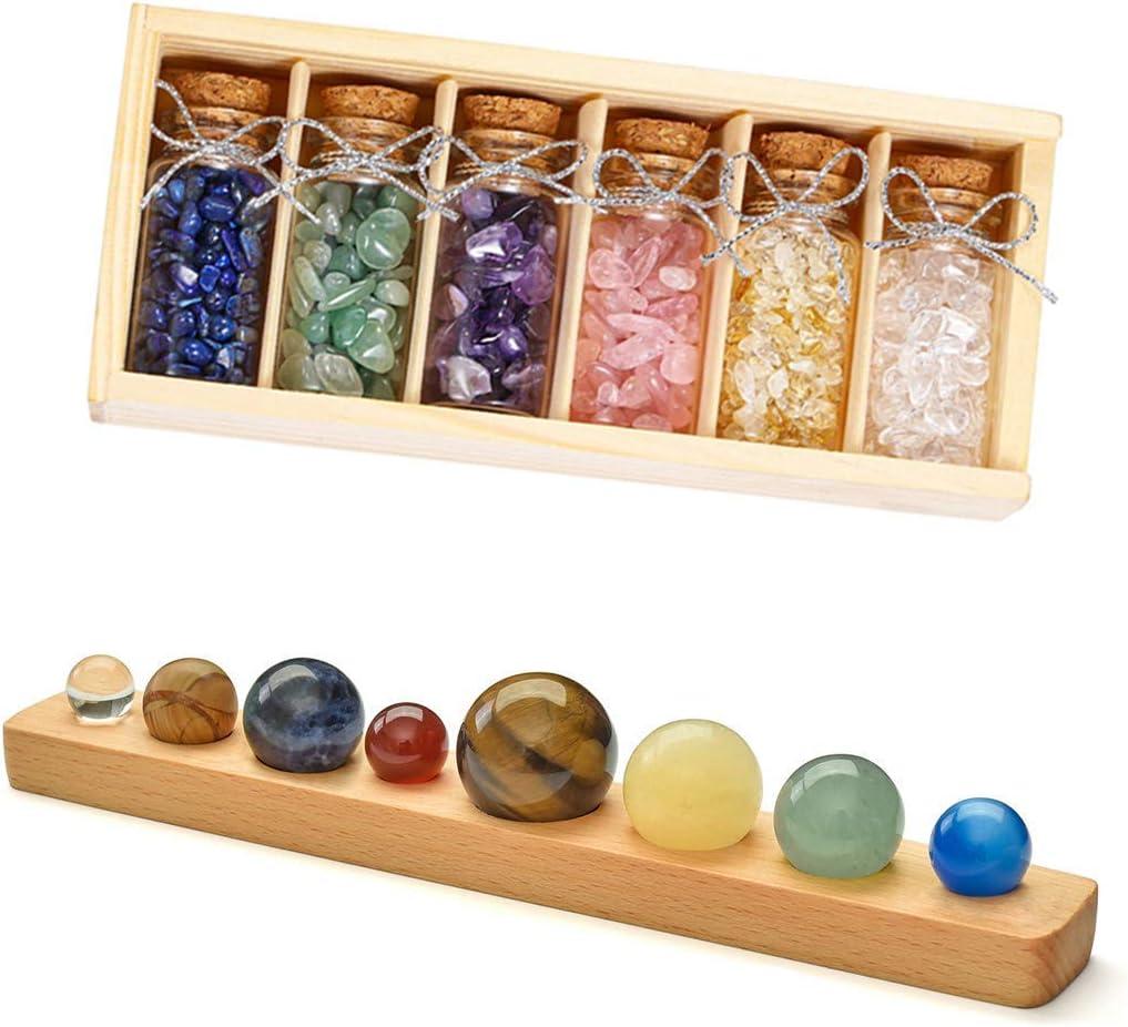 Top Plaza Bundle – 2 Items: 6 Pcs Gemstone Bottles Set Healing Crystals Stones Chip with Wooden Box & Solar System Planets Office Home Desk Decor Gemstones Ball Set