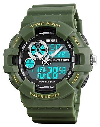 Los Hombres de la Pantalla de analógico Digital LED Reloj Militar Multifuncional Impermeable Alarma Cuarzo Deporte cronómetro: Amazon.es: Relojes