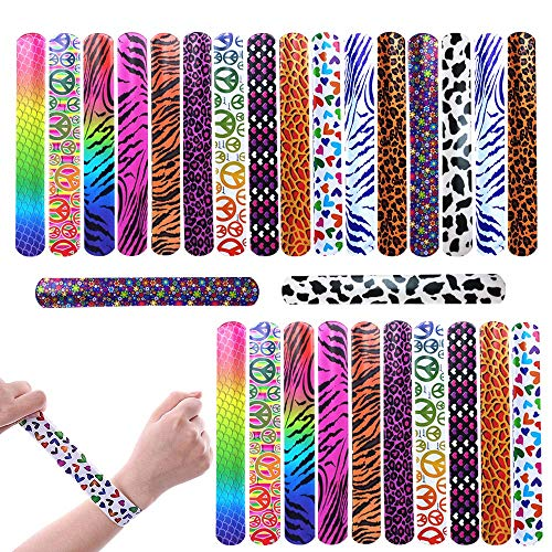 Slap Bracelets Party Favors Pack, 28PCs Wrist Strap with Colorful Hearts Animal One Size Fits All for Kids Boys and Girls, Toy Party Favors