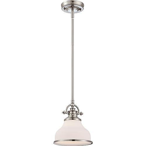 quoizel pendant lighting brushed nickel quoizel grt1508bn grant 1light mini pendant brushed nickel pendant lighting amazoncom