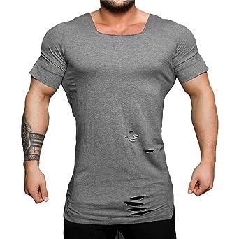 Amazon.com: MOSERIAN Mens Shirt Fashion Ripped U Neck Tight T-Shirt Stretch Short Sleeve Shirt: Clothing