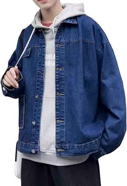 (BaLuoTe)デニム ジャケット メンズ デニムコート ジャケット ゆったり トップス 春 秋 シンプル メンズ ファッション カジュアル 韓国 通学 スタジャン お洒落
