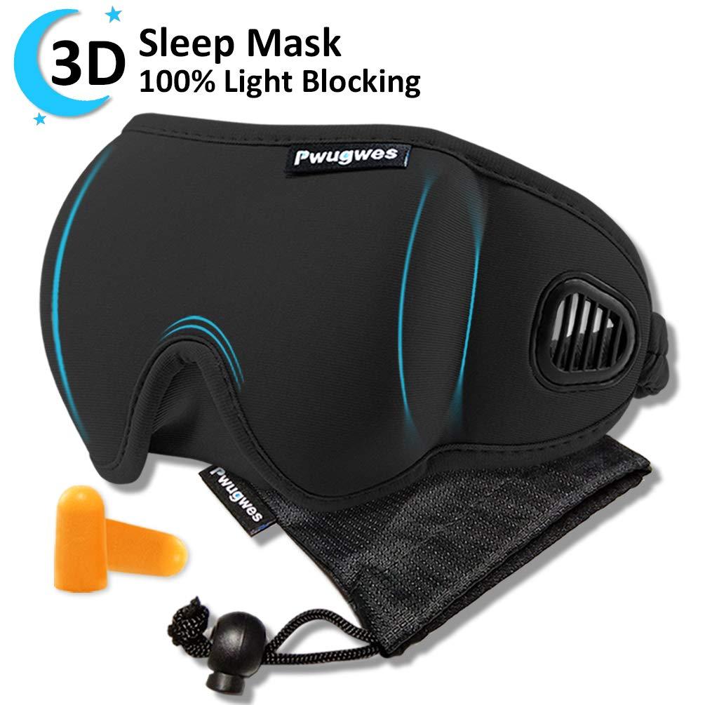 Sleep Mask Blindfold Sleeping Mask for Women and Men,Unique Air Ventilated 3D Eye Mask,Adjustable Blackout No Pressure Eye Shades Eye Cover,Lightweight Night Mask for Sleeping,Travel,Nap,Meditation