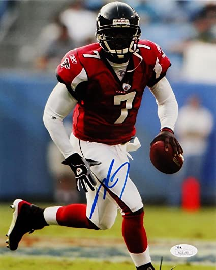 3f9a2d71d61 Image Unavailable. Image not available for. Color  Michael Vick Autographed  Atlanta Falcons 8x10 Running Red Jersey Photo- JSA ...