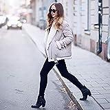 XOWRTE Women's Faux Fur Fleece Lapel Aviator Winter Warm Jacket Overcoat Outwear Coat