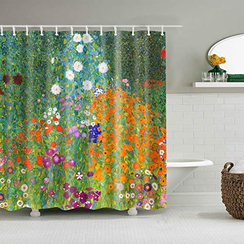INVIN ART Bathroom Shower Curtain Set with Hooks,Flower Garden by Gustav Klimt,Home Art Paintings Pictures for Bathroom