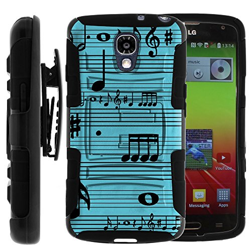 Volt Case, Volt Holster, Two Layer Hybrid Armor Hard Cover with Built in Kickstand and Art Pattern Designs for LG Volt F90, LS740 (Sprint, Boost Mobile, Virigin Mobile) from MINITURTLE | Includes Screen Protector - Musical Blues