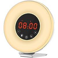 Honxee L6 Wake Up Light Sunrise Simulation Alarm Clock Fonction Snooze pour Waking UP Lampe de chevet Night Light avec Sunset Simulation et Radio FM 7 Moods Lights Changing