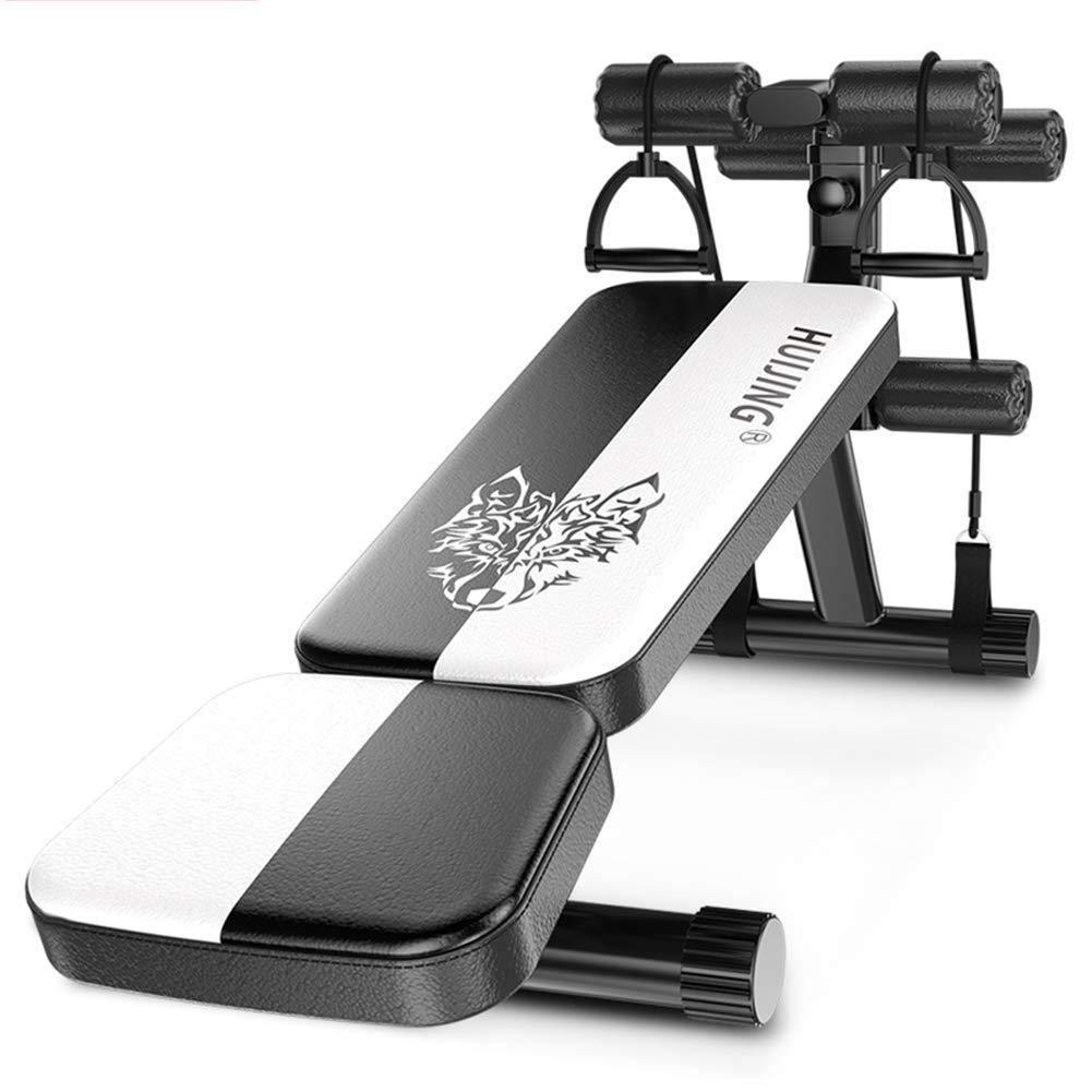 Lcyy-ab Verstellbare Gewichtsbänke Faltbare Sit Up Bit Up Bit Multi-Eice Abdominal Trainer 3 Levels Höhe mit Pulling Rope Multiple-Point-Bearing Breathable PU Leder schwarz & Weiß