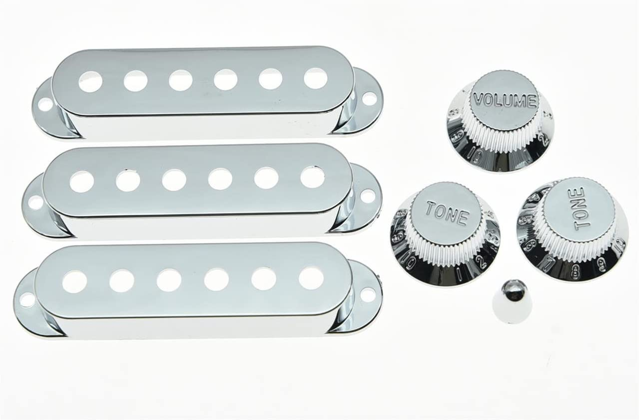 Chrome HEALLILY 7pcs Guitar Pickup Cover Knobs Switch Tip Set for Electric Guitar Replacement Parts