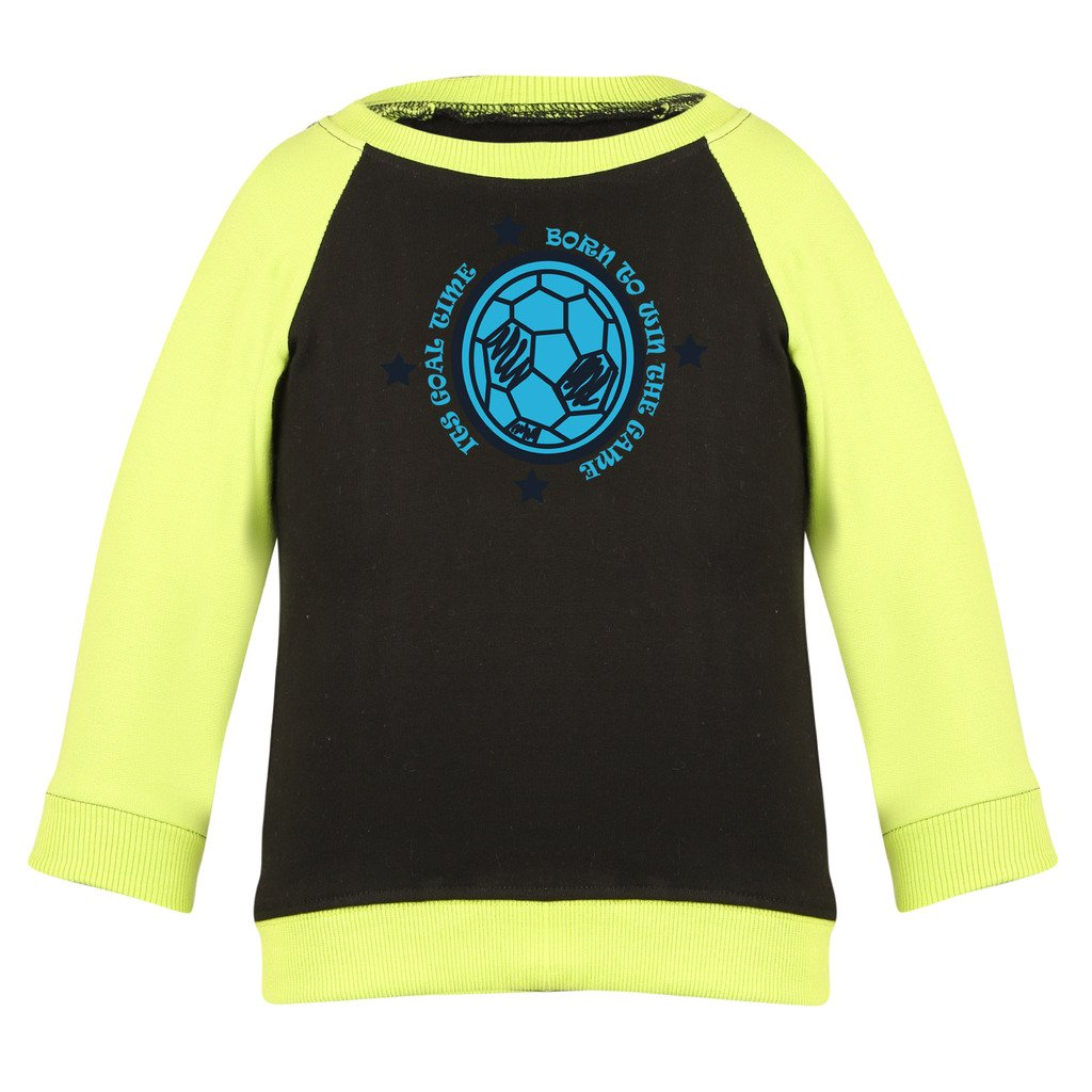 28a7122f66f9ae Clifton Baby Boys Raglan Printed Full Sleeve T-shirts -Black-Lime Green  -Born To Win  Amazon.in  Clothing   Accessories