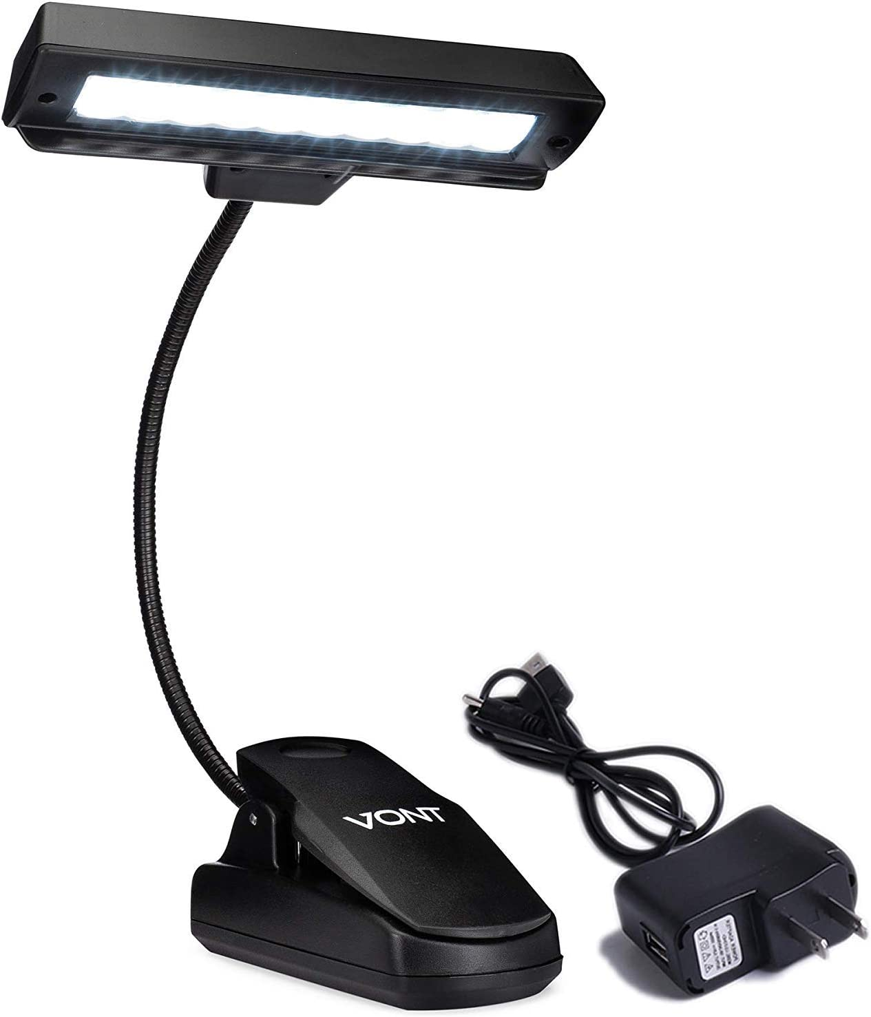 Vont Clip On Book Light, Rechargeable Music Stand Light, Clip On Light Made From 10 LEDs, Orchestra Lamp with Adjustable Neck