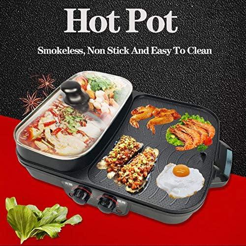 Poêle à frire multifonction domestique Gril à double usage hot pot Ragoût électrique hot pot électrique plaque de cuisson Poêle à frire Poêle à griller Poêle grillée