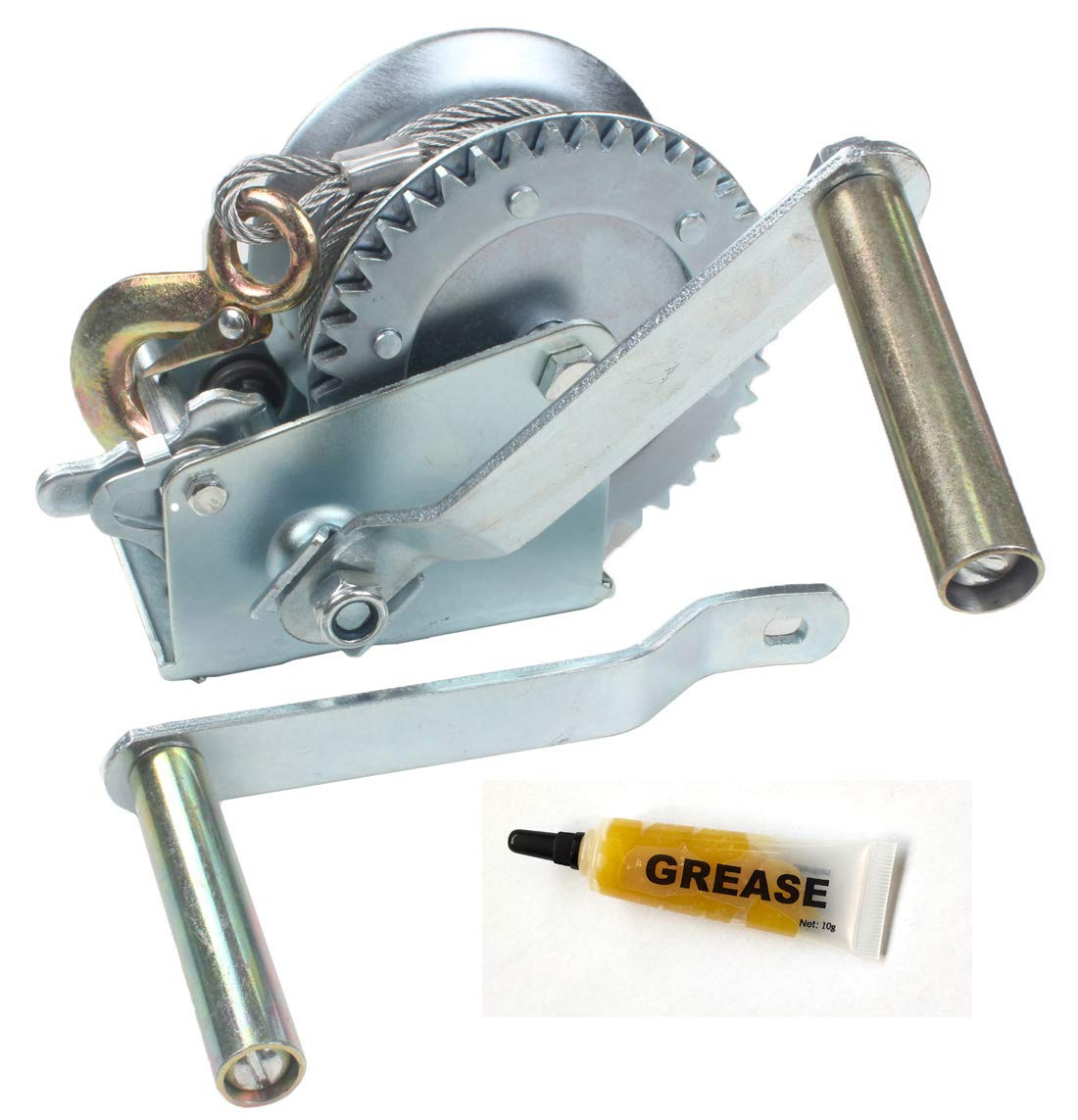 AC-DK 1600 lb - 3500 lb Hand Gear Winch Come with Two Crank Handles! - Manual Operating with Strap & Cable for Boats and Trailers(1600 lb with Cable).