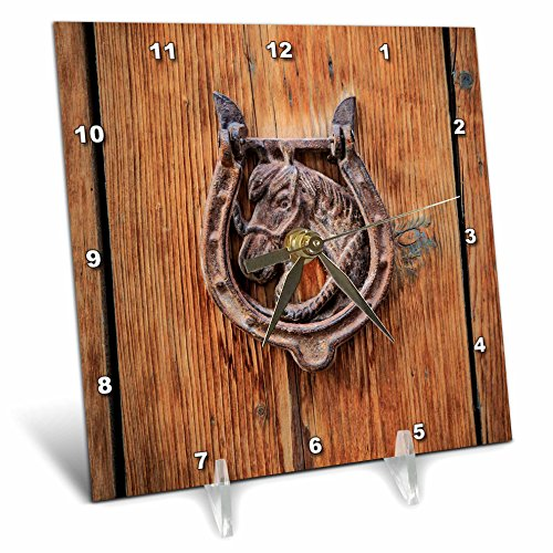 3dRose Danita Delimont - Architecture - Spain, Balearic Islands, Mallorca, door knockers. - 6x6 Desk Clock (dc_277912_1) by 3dRose