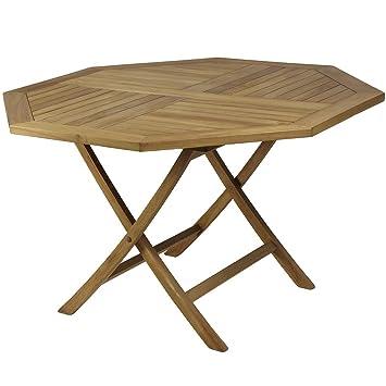Table pliante octogonale en teck 120 x 75 cm.: Amazon.fr: Jardin