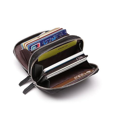 8f76fa93a Baonika RFID Monedero Mujer Hombre de Cuero Genuina Tarjetero Tarjeta de  Credito Cremallera Doble (Negro