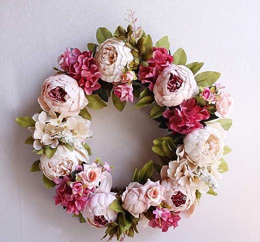 Artificial Peony Wreath Vintage Garland Hanging Ornament Flower Door Wall Decor