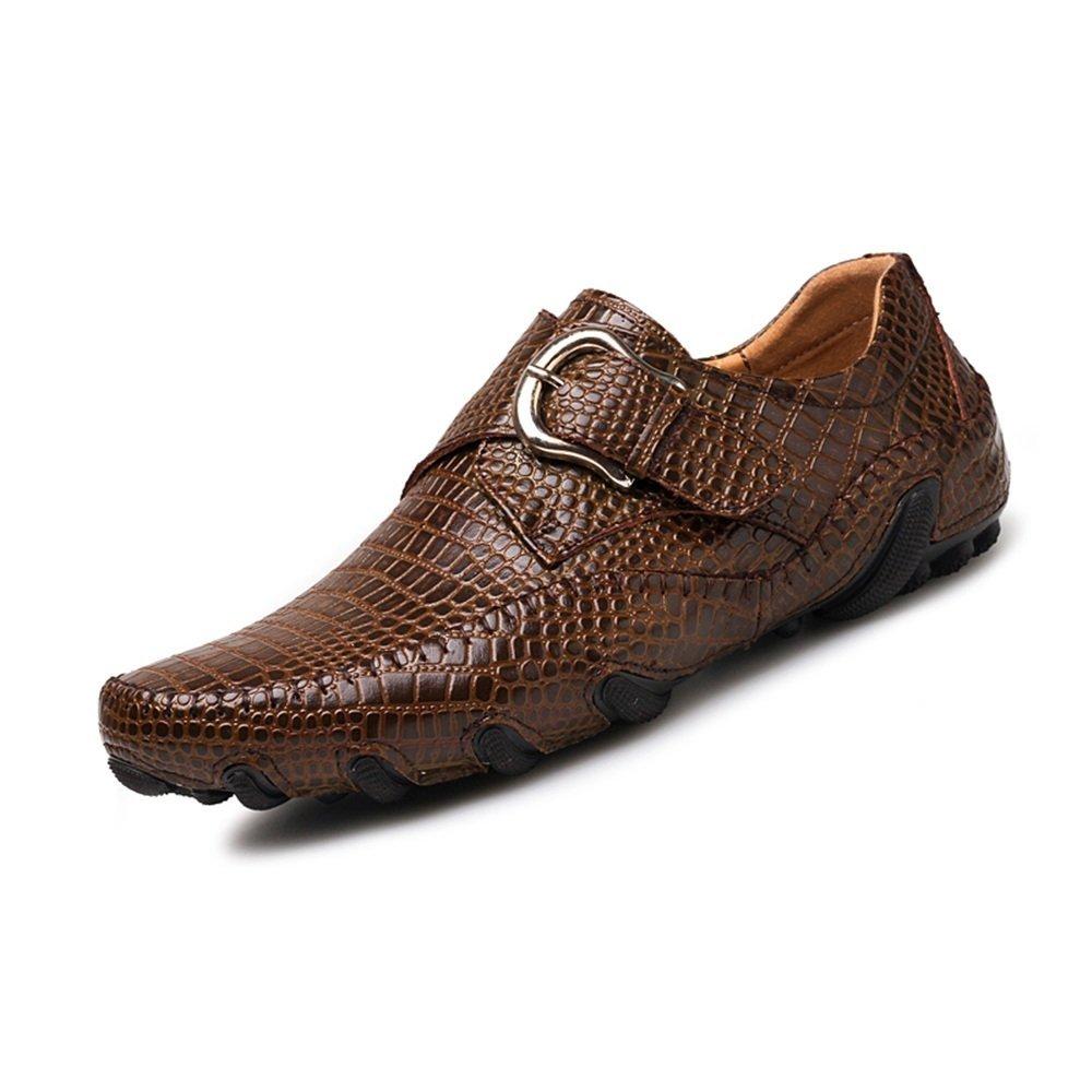 Zapatos Mocasines para Hombre 2018 Mocasín de conducción de Hombre de Estilo Casual de Cuero Genuino de cocodrilo a Rayas Hebilla de Metal Jumbo Boat Shoes Mocassins 44 EU|Marrón