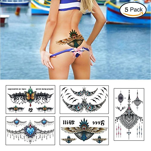 Large Tattoos Fake Temporary Jewelry Body Tattoos Art Stickers for Women Men Teens, VIWIEU 3D Realistic Girls Chest Temporary Tattoos, 5 Sheets, Water Transfer Body Tattoos by VIWIEU