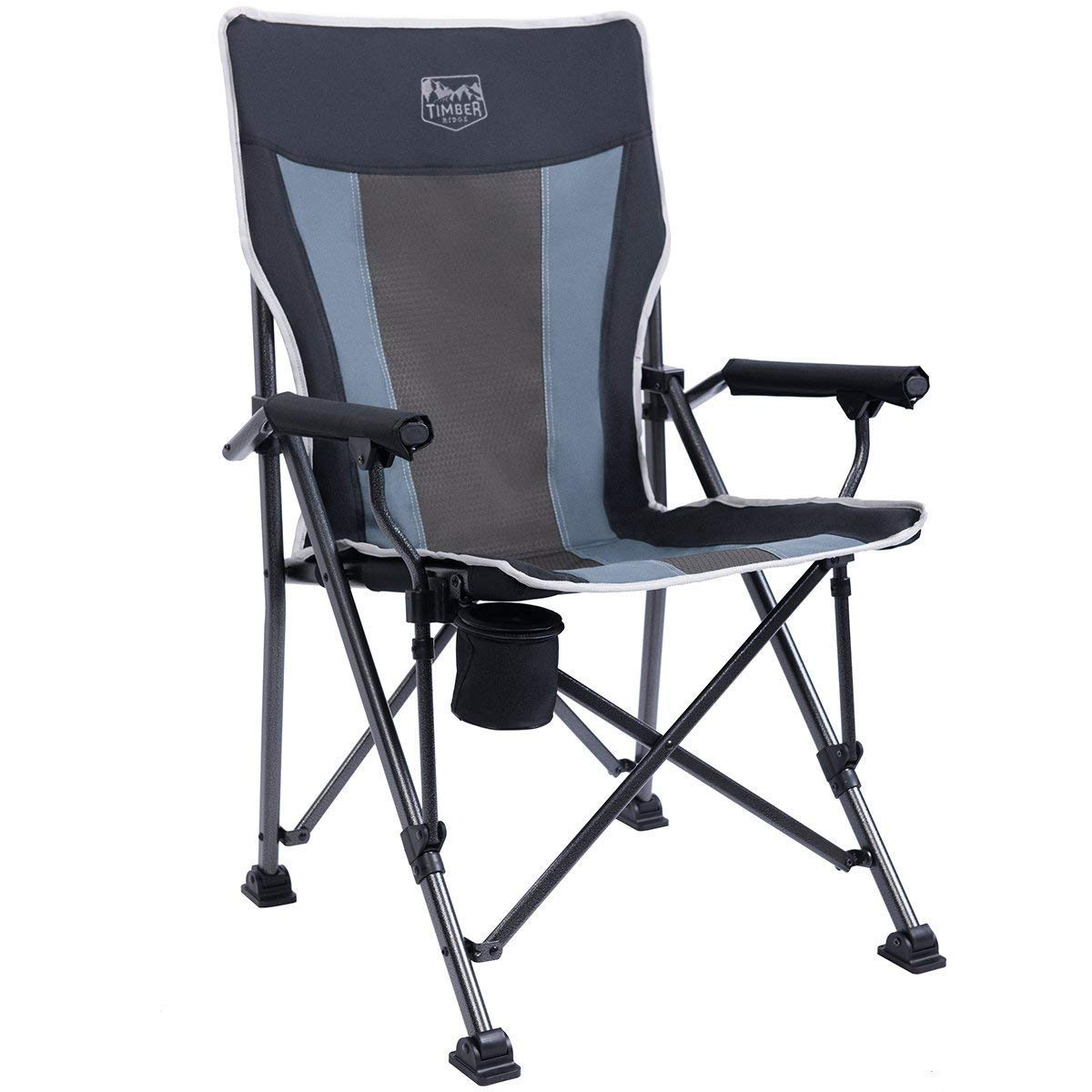 Timber Ridge Camping Chair Ergonomic High Back Support 300lbs with Carry Bag Folding Quad Chair Outdoor Heavy Duty, Padded Armrest, Cup Holder
