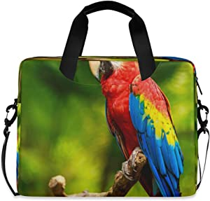 CCDMJ Laptop Case Cute Parrot Macaw Bird Laptops Sleeve Shoulder Messenger Bag Briefcase Notebook Computer Tablet Bags with Strap Handle for Women Man Boys Girls 16 Inch