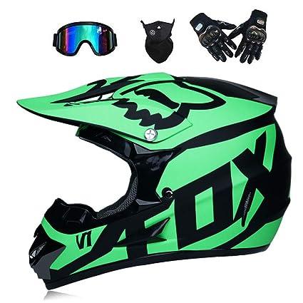 LTongx Motos Motocross Cascos y Guantes y Gafas estándar para niños ATV Quad Bicicleta go Casco