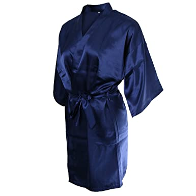 859dd7890d Blesiya Lady Girls Robe Silk Satin Robes Wedding Bridesmaid Gown Kimono Robe  - Dark Blue