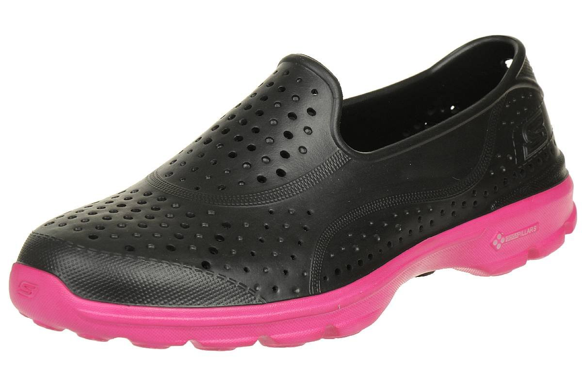 Skechers H2 Go Womens Slip On Water Shoes Black/Hot Pink 7