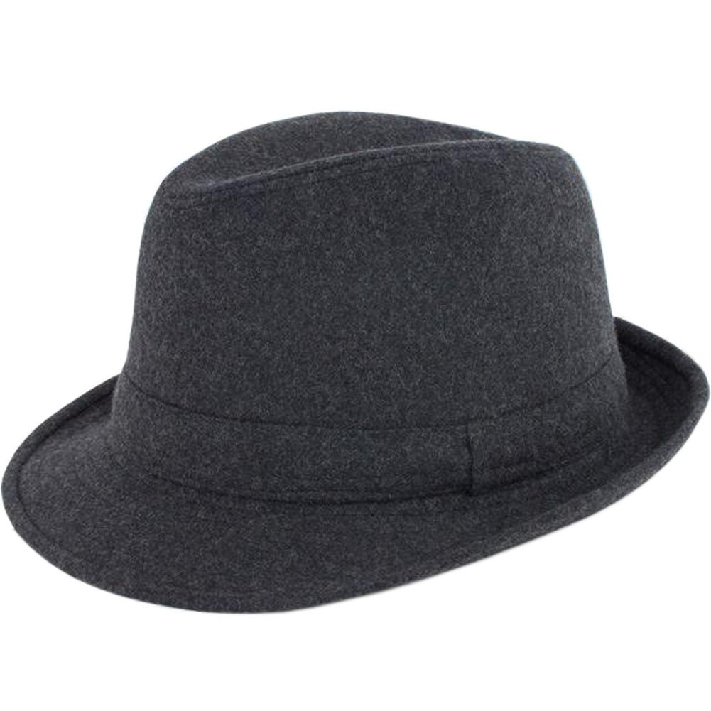 ALL IN ONE CART Men's Classic Manhattan Structured Gangster Trilby Fedora Hat Short Brim Panama Hat Black One Size