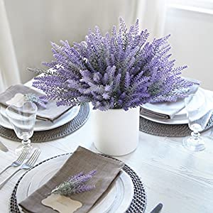 Butterfly Craze Artificial Lavender Flowers 4 Large Pieces to Make a Bountiful Flower Arrangement Nearly Natural Fake Plant to Brighten up Your Home Party and Wedding Decor (4 Pieces) 106