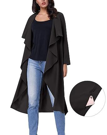 e60ca89cbdf Amazon.com  Kate Kasin Basic Lightweight Lapel Collar Trench Coat ...