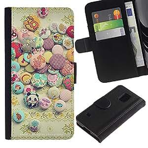 SAMSUNG Galaxy S5 V / i9600 / SM-G900 Modelo colorido cuero carpeta tirón caso cubierta piel Holster Funda protección - Sun Stones Happy Positive Stones