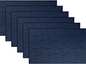 "pigchcy Placemats,Washable Woven Vinyl Placemats for Dining Table,Easy to Clean Plastic Placemats Set of 6(18""X12"",Navy Blue)"