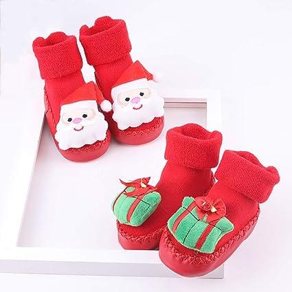 LFY 2 Pares de Calcetines Rojos de la Navidad, Calcetines Suaves antirresbaladizos del bebé del
