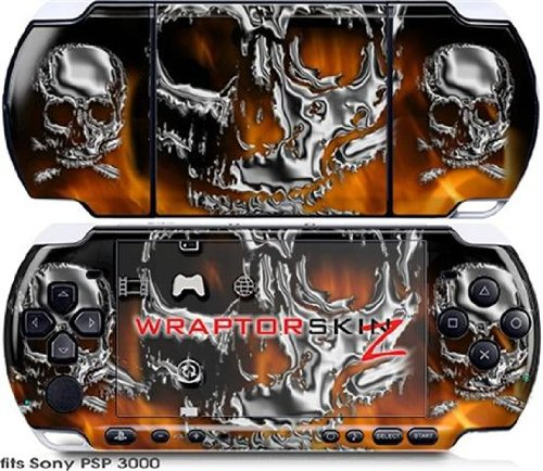 Sony PSP 3000 Decal Style Skin - Chrome Skulls on Fire (OEM Packaging)