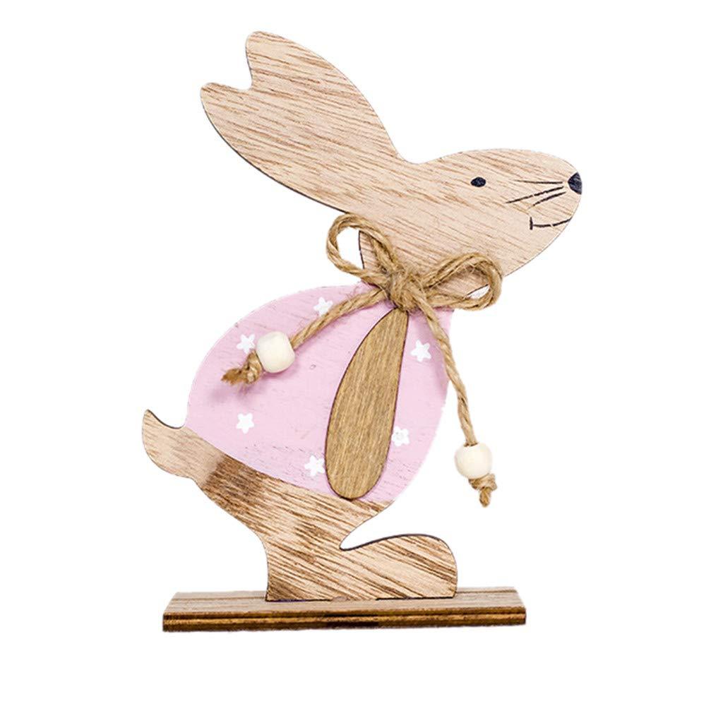 Wooden Easter Bunny Ornament Rabbit Desktop Decoration Rustic Farmhouse Rabbits for Easter Home Decor 1PC (A)