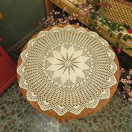 tidetex algodón encaje mantel redondo pequeño hecho a mano Crochet Hollow Out Funda para mesa blondas mesa overlay sofá toalla Decor Pad Vintage de estilo ...