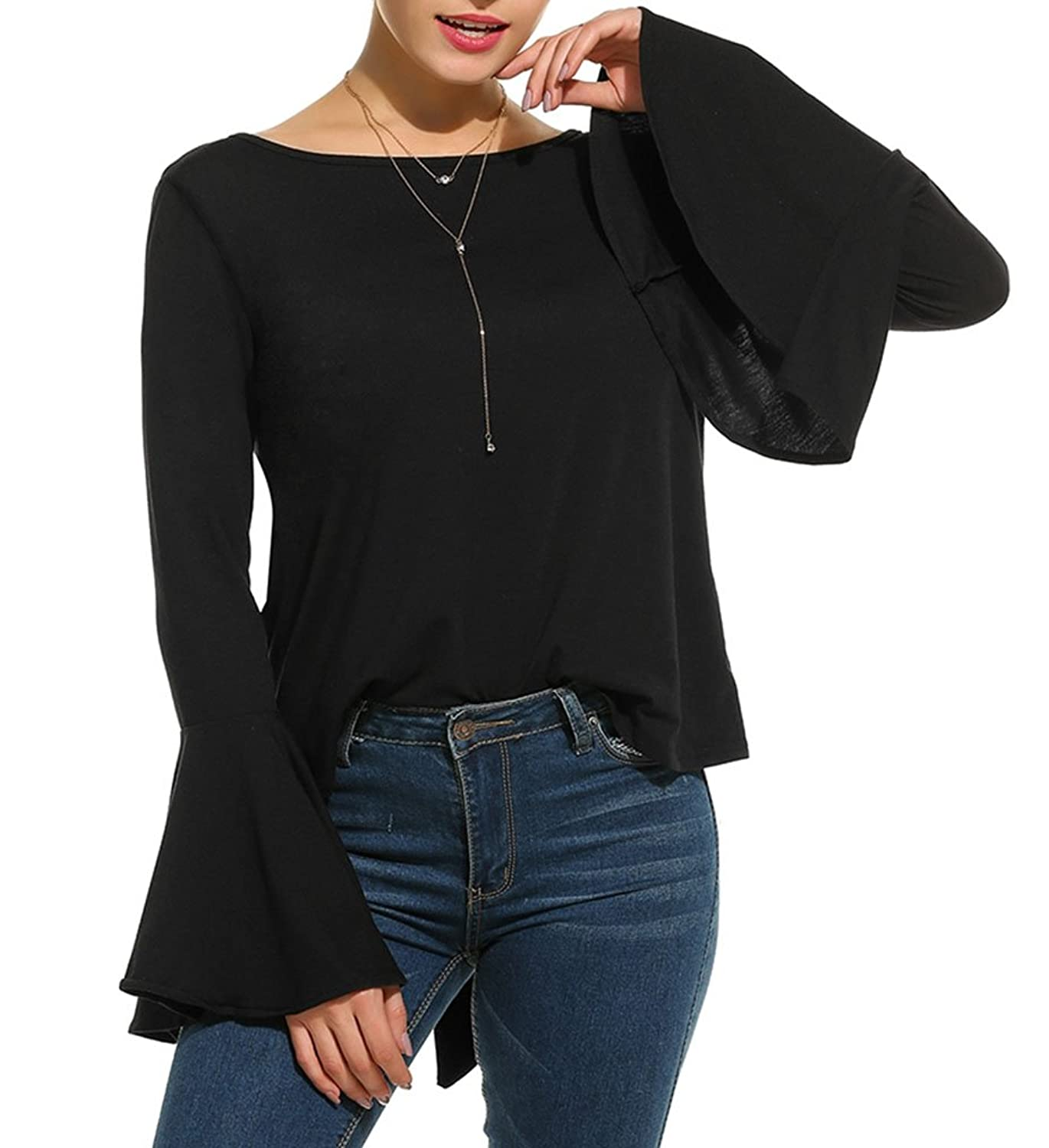 b0cea72d52f99e good Naggoo Women s Long Bell Sleeve Blouse Back Lace Up Tops Casual T- shirts
